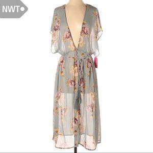 NWT See Through Floral Boho Kimono Dress Coverup